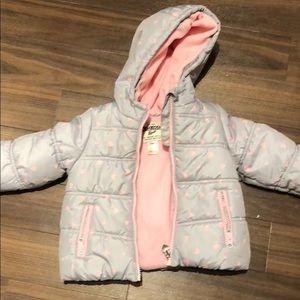 Oshkosh 18 months pink and grey hearts winter coat